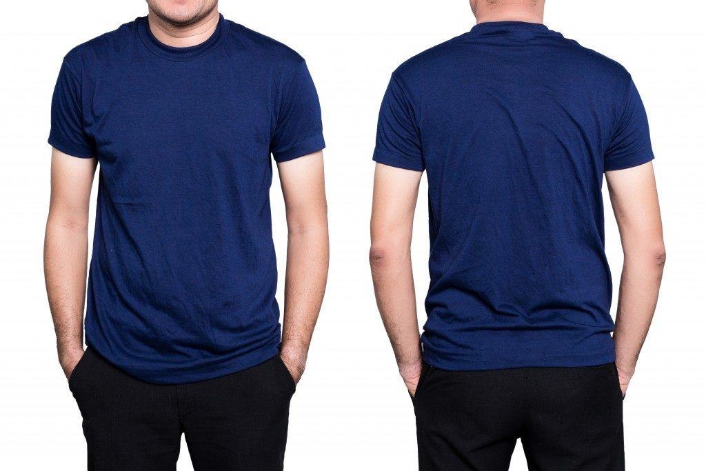 man wearing a plain blue shirt