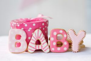 baby shower pink cookies