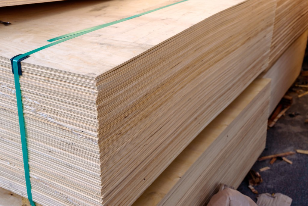 Plywood boards stacked together