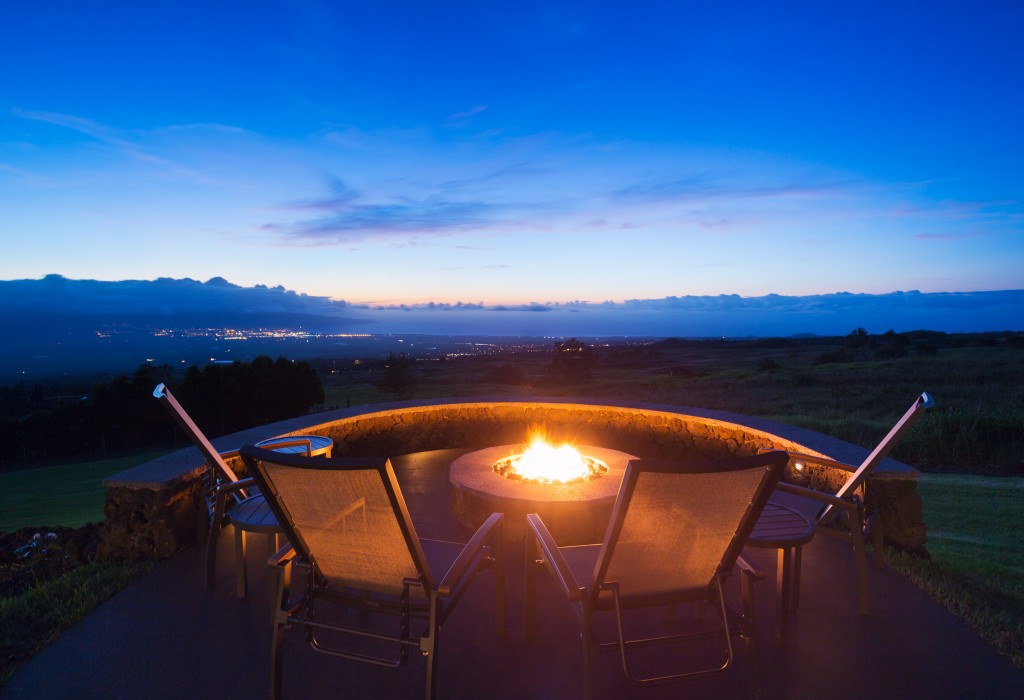 fire pit in pation overlooking the mountains
