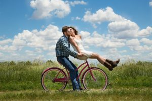 newlyweds biking