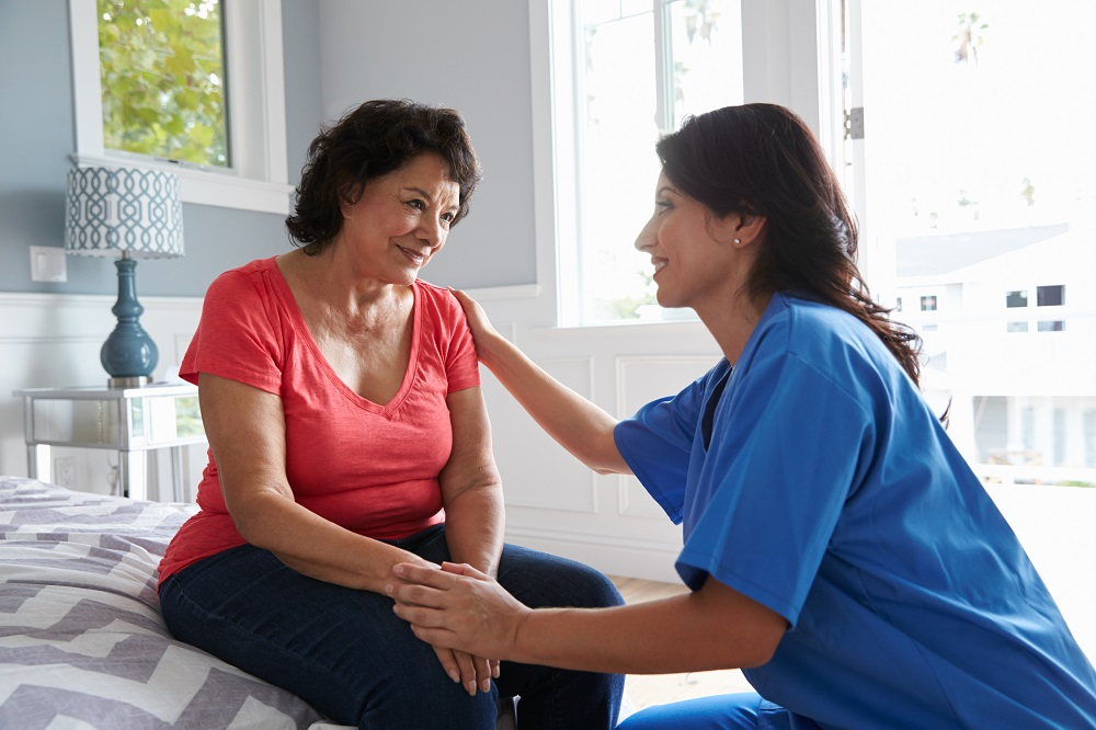 talking to healthcare worker