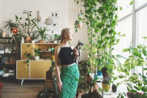 woman and her plants