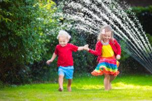children playing at the backyard