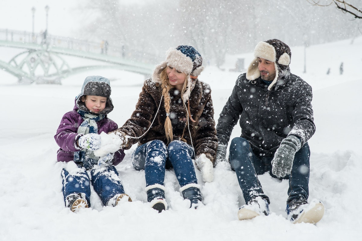 family in the snow