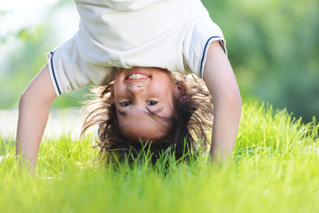 child playing outdoors