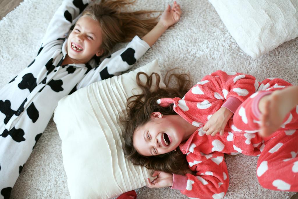 kids lying on the floor