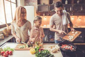 family preparing food