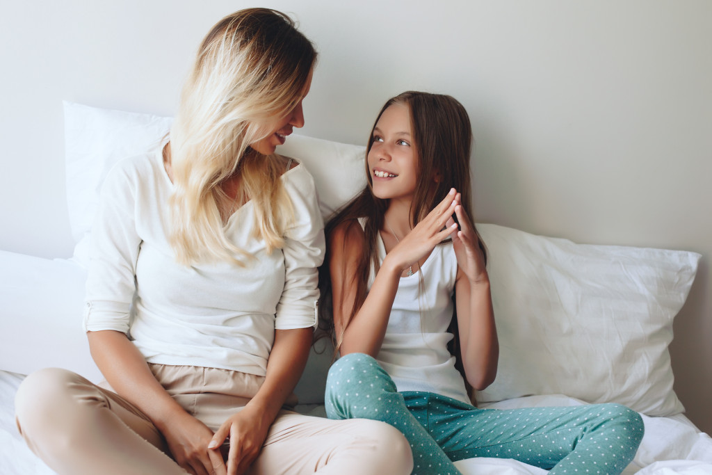 mother and daughter talking