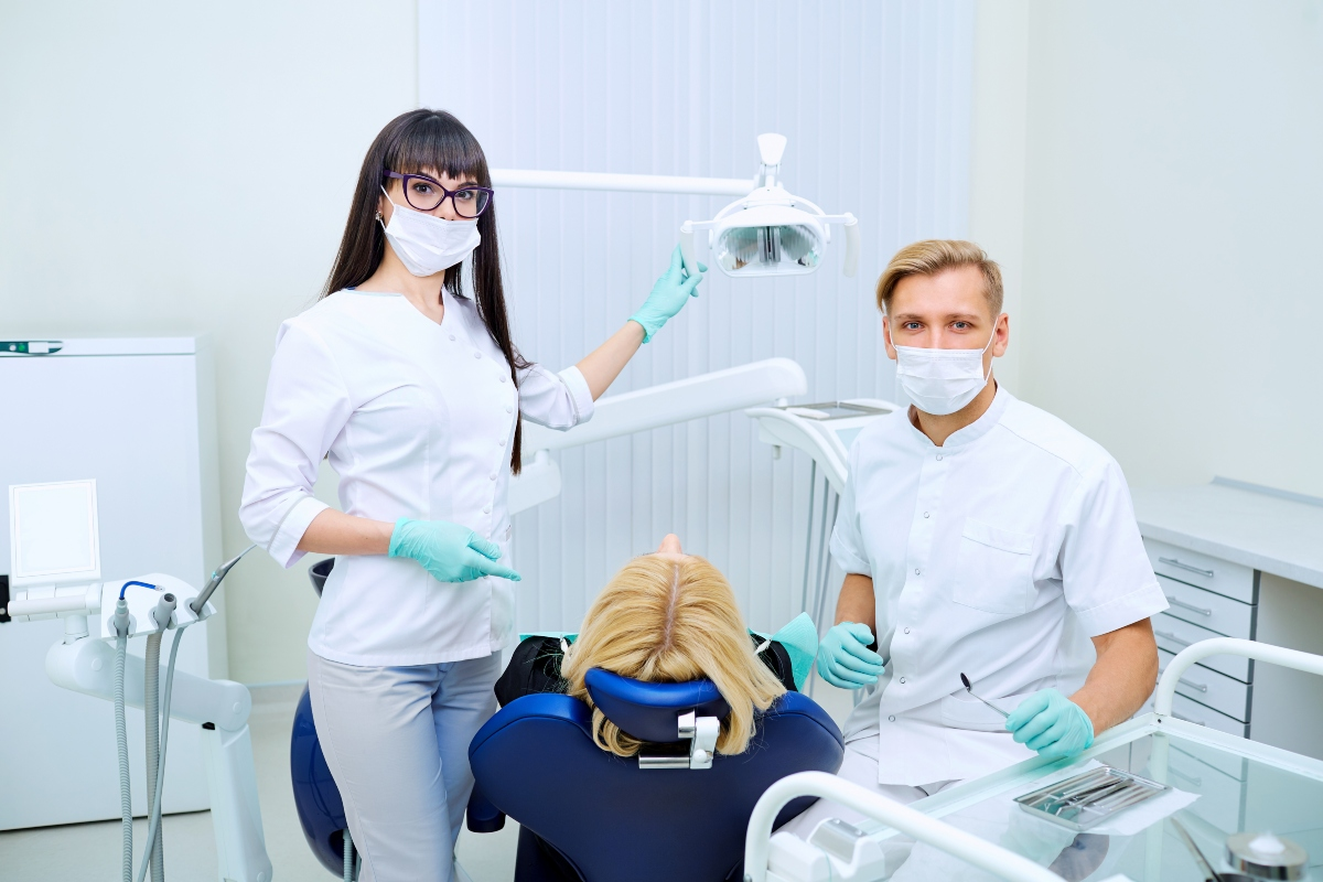 dentists with a patient