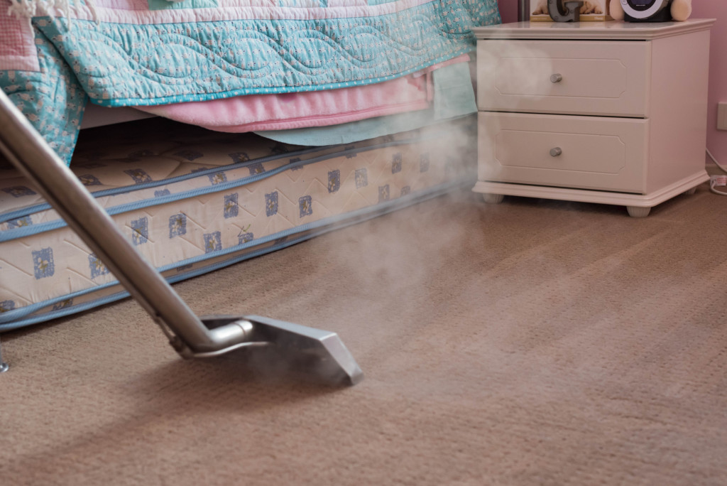 woman steaming the carpet