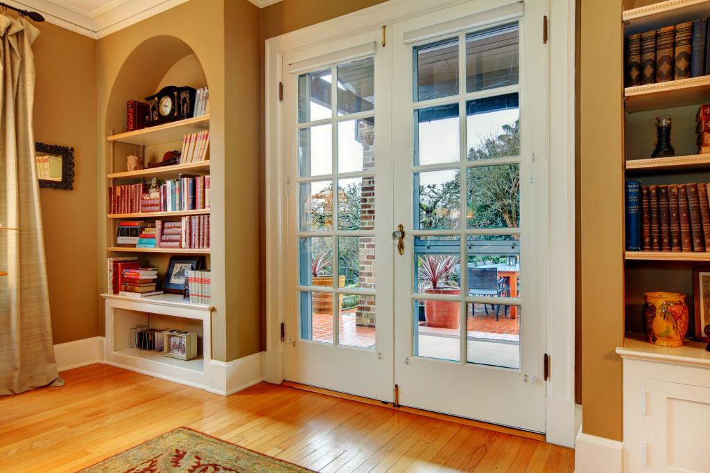shelves by the door