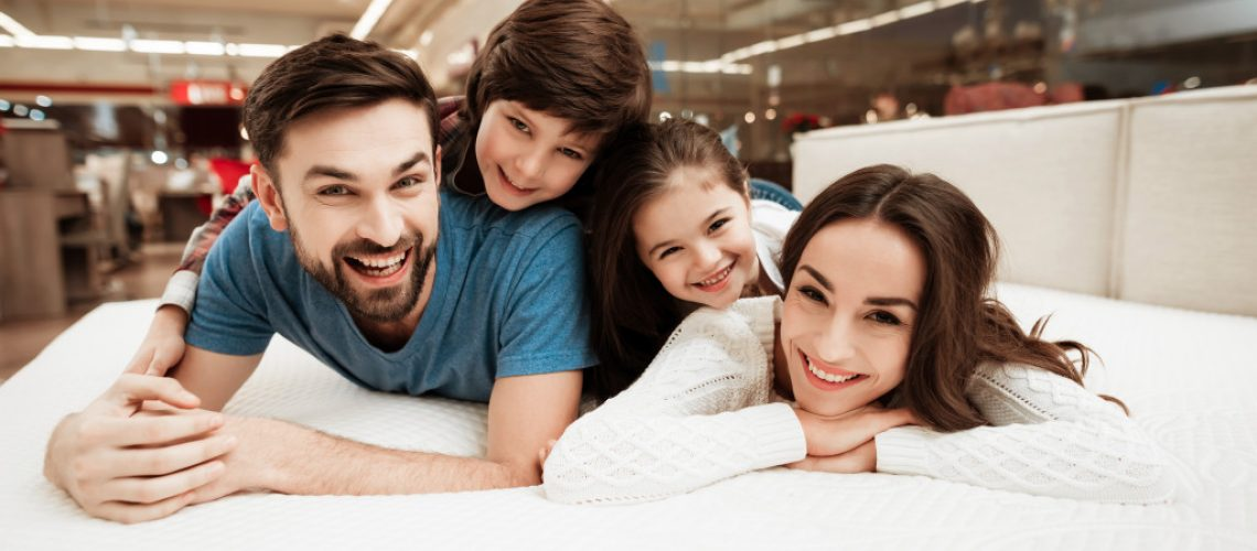 family buying a bed