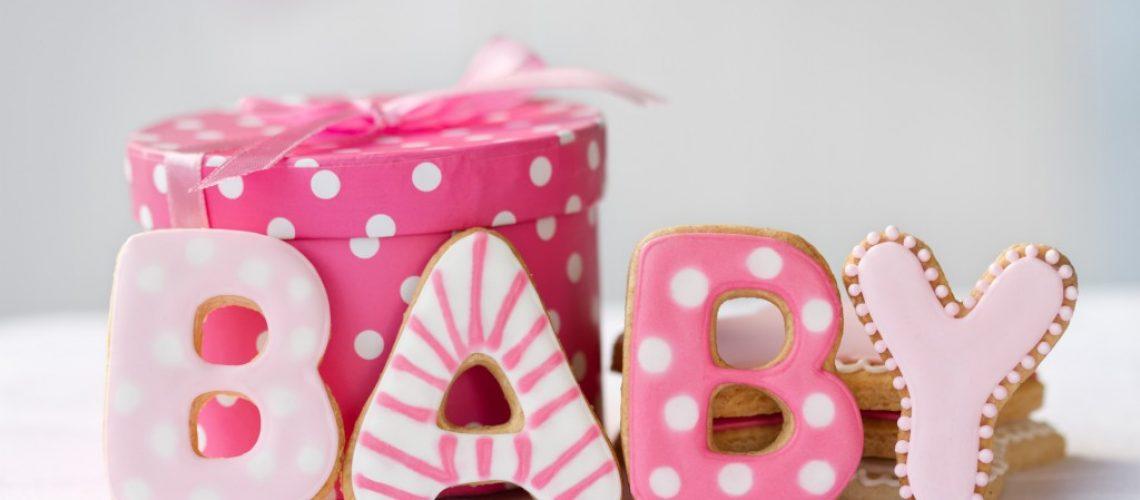 baby shower pink cookies