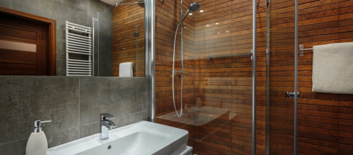 Wooden wall in bathroom