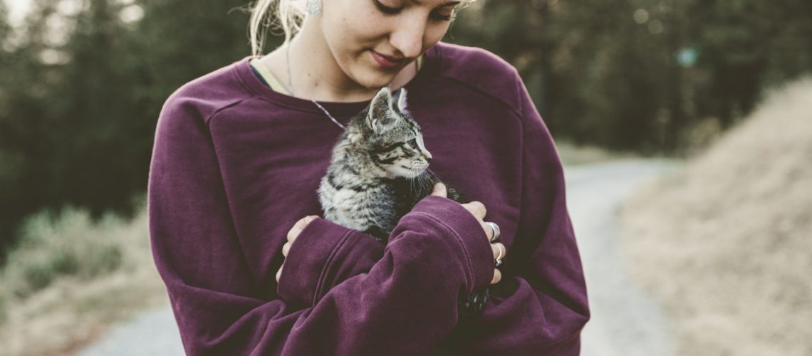 person and cat